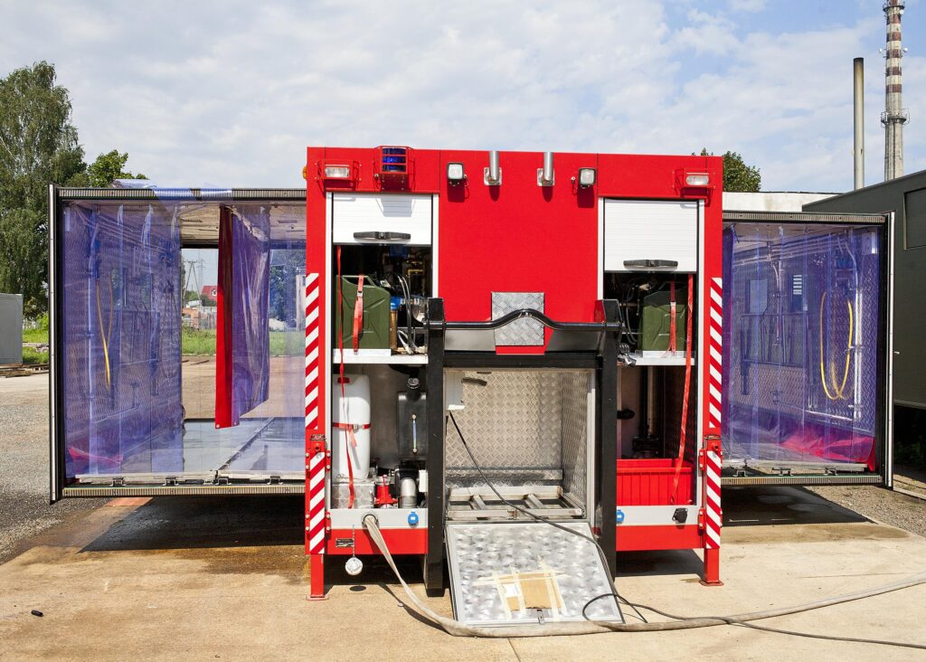Extendable fire container for mass decontamination, type KRD