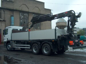 Box truck with a crane